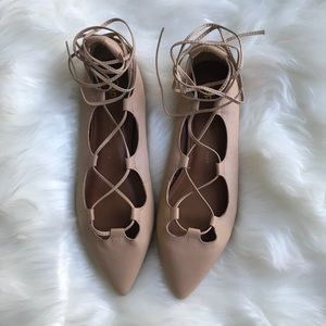 Gap Nude Lace Up Ballet Flats Size 9